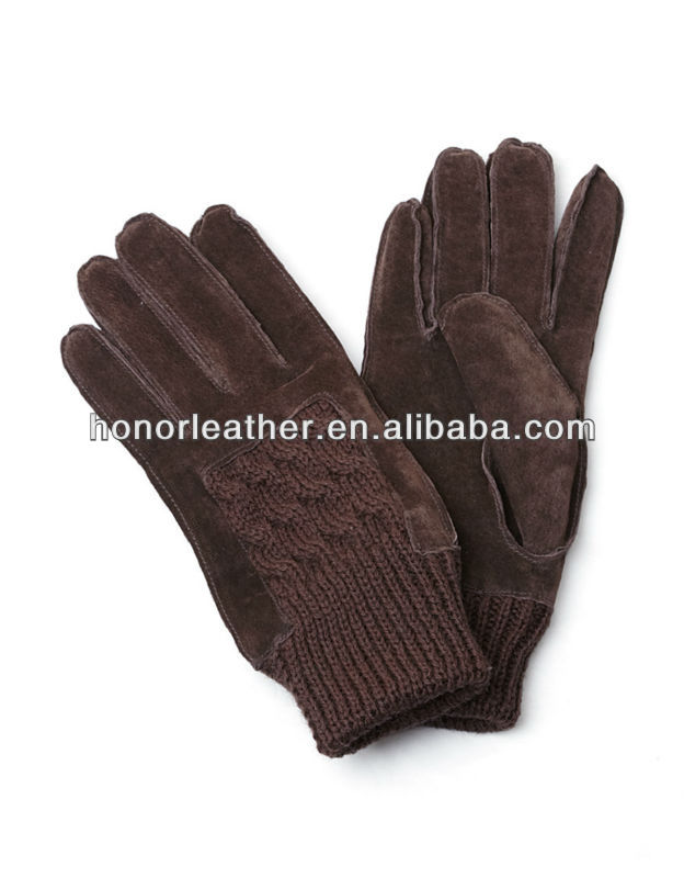 Fashion suede leather glove,back of hand knitting