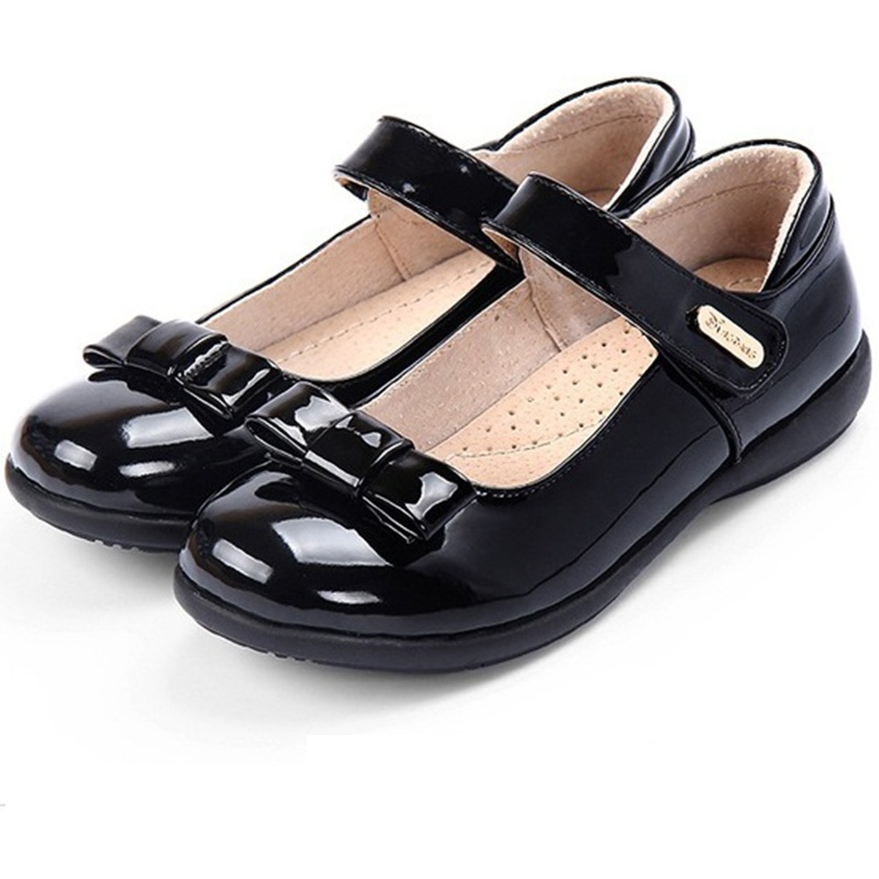 wholesale kids bulk black leather buckle strap school shoes campus shoes for girls
