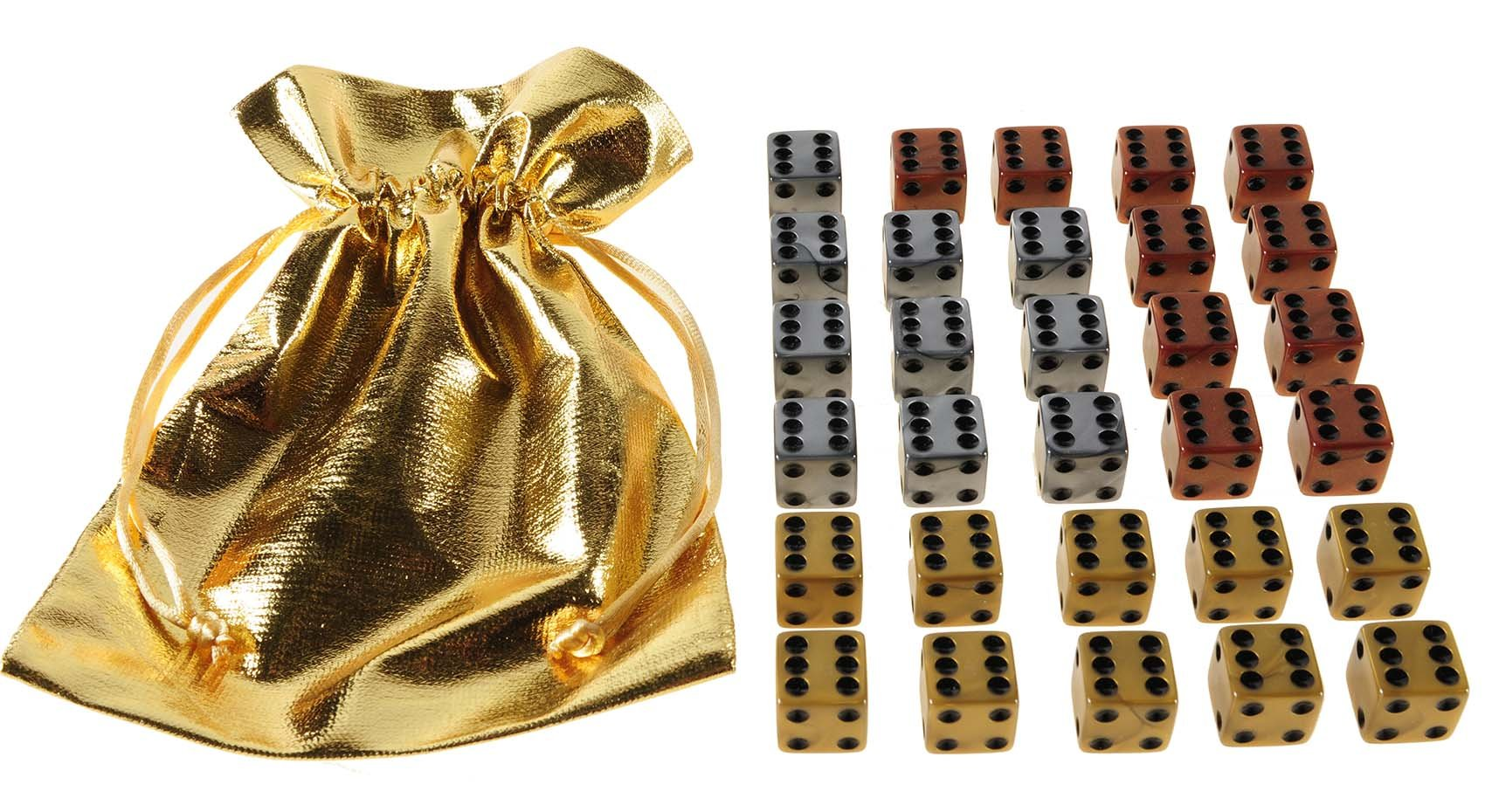 Dice D6, 16mm, Set of 30 in Gold, Silver and Bronze Pearlized Swirl Colors _ 10 each of 3 Colors _ Bonus Gold Metallic Color Cloth Drawstring Pouch