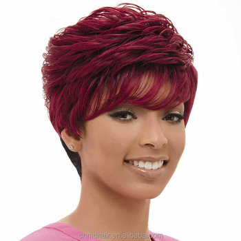 Fashion Red Color Short Wave Synthetic Wig Buy Short Deep Wave Wigs Finger Wave Wig Red Short Hair Wig Product On Alibaba Com