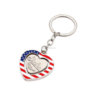 Souvenir Heart Shaped American Flag with Alaska spinning keychain/keyring