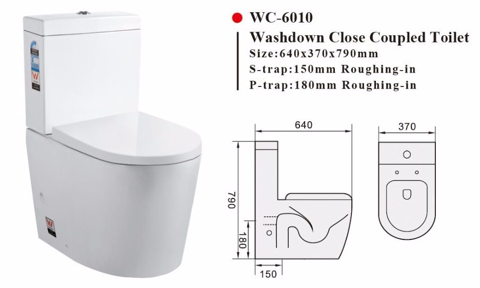 Two Piece Washdown Watermark Toilet S P Trap With Geberit Or RT Flush Valve