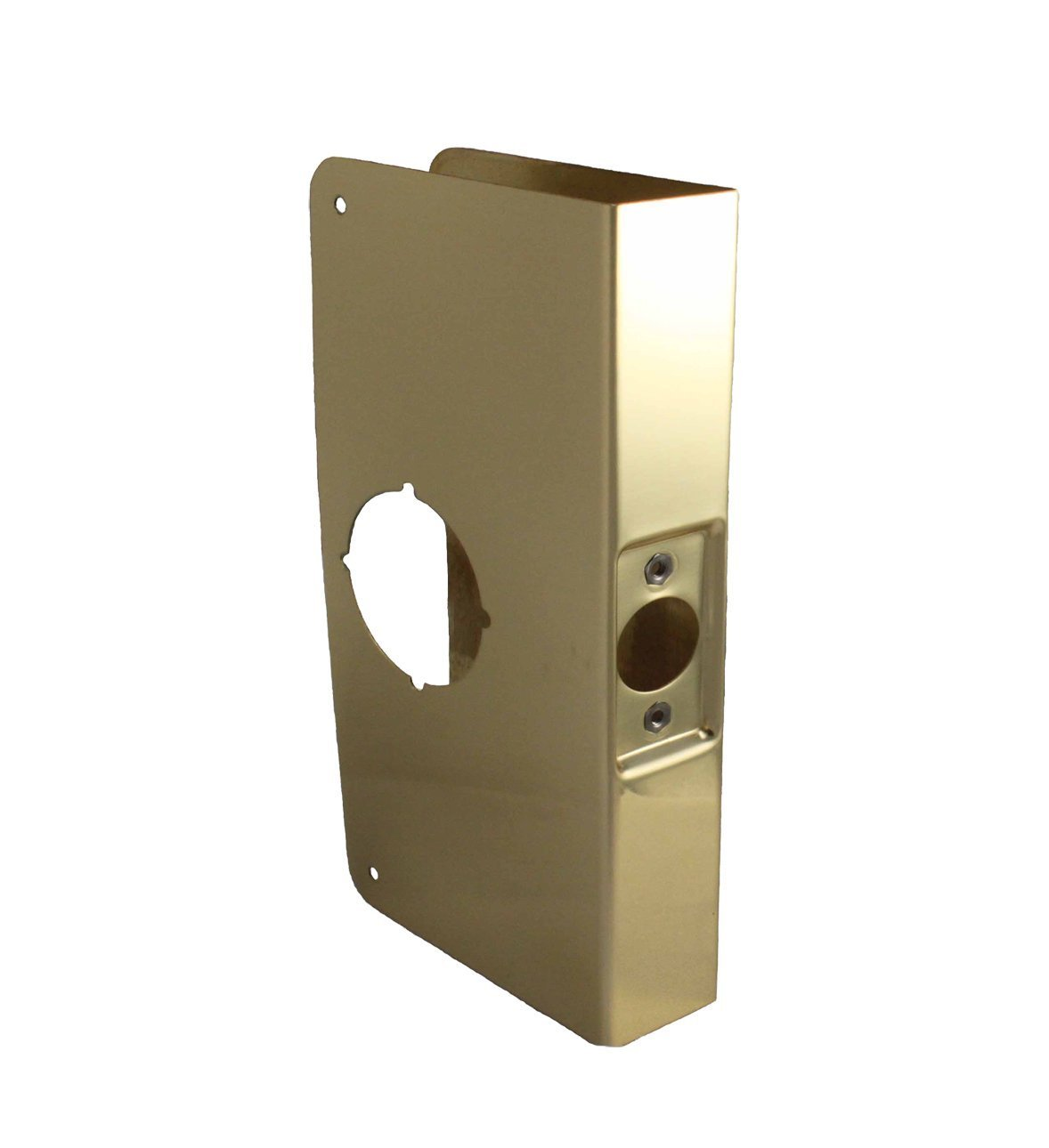 "Don-Jo 12-CW-PB Stainless Steel Wrap-Around Plate, 5-1/8"" x 12"", For Cylinder Door Lock with 2-1/8"" Hole, 2-3/4"" Backset, Polished Brass Finish"