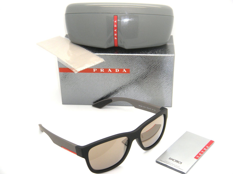97ee03bd0096b Get Quotations · New Authentic Prada Sunglasses PS 03QS DG01C0 57mm Black  Rubber   Light Brown Mirror Gold