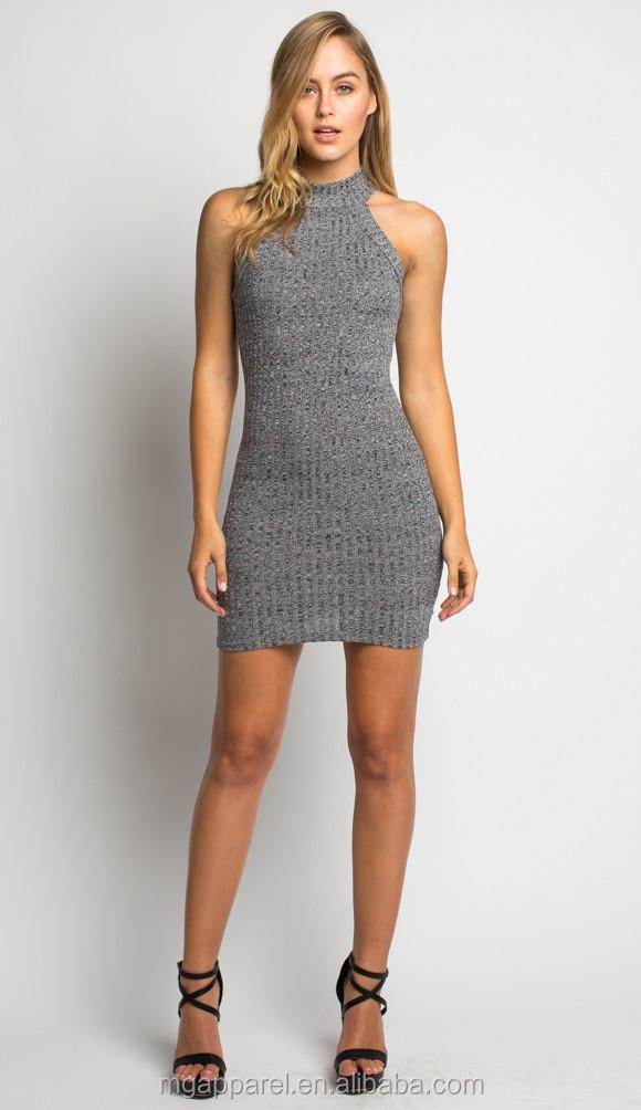 Latest design high neck short mini dress women knit tight sweater dress  pattern 74cf4496b
