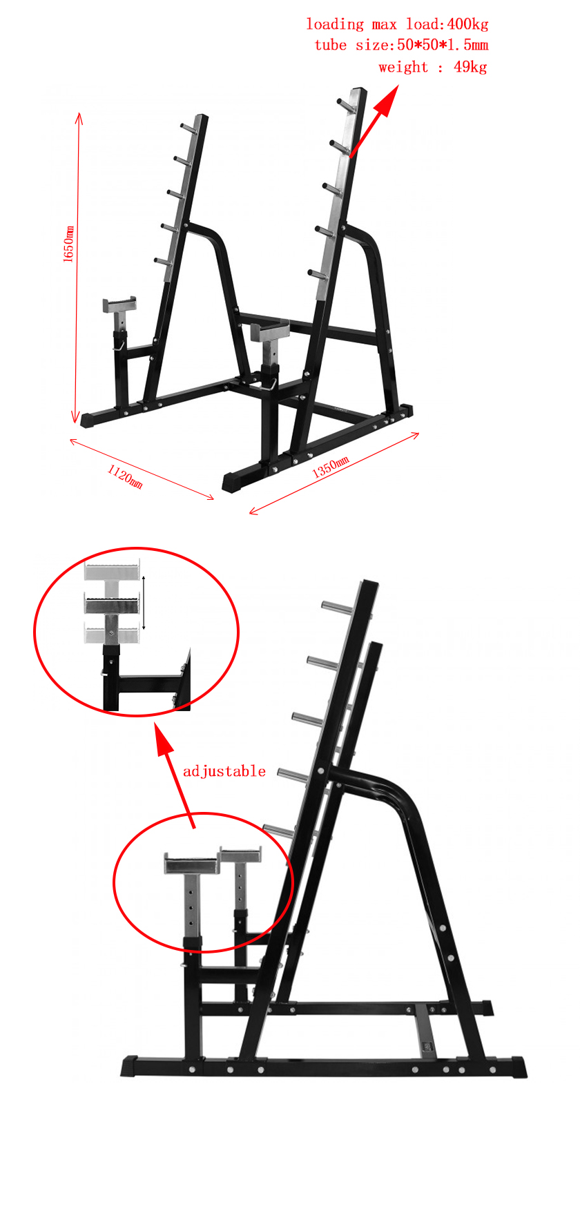 Adjustable Free Standing Functional Squat Power Rack