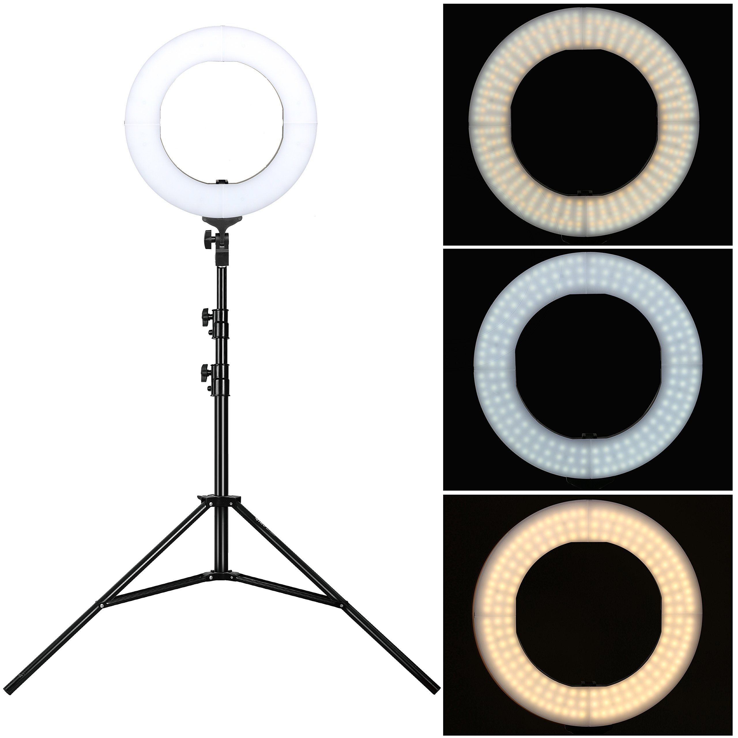 14 Inch Zomei Dimmable Flashpoint Fluorescent Camera Cellphone ring light with stand used for Portrait Youtube Video Shooting