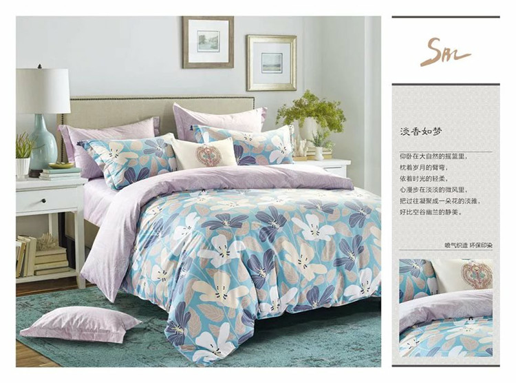 Bedding Sets Queen, 4pcs pure cotton beddi sets, duvet cover+pillow cover+fitted sheet