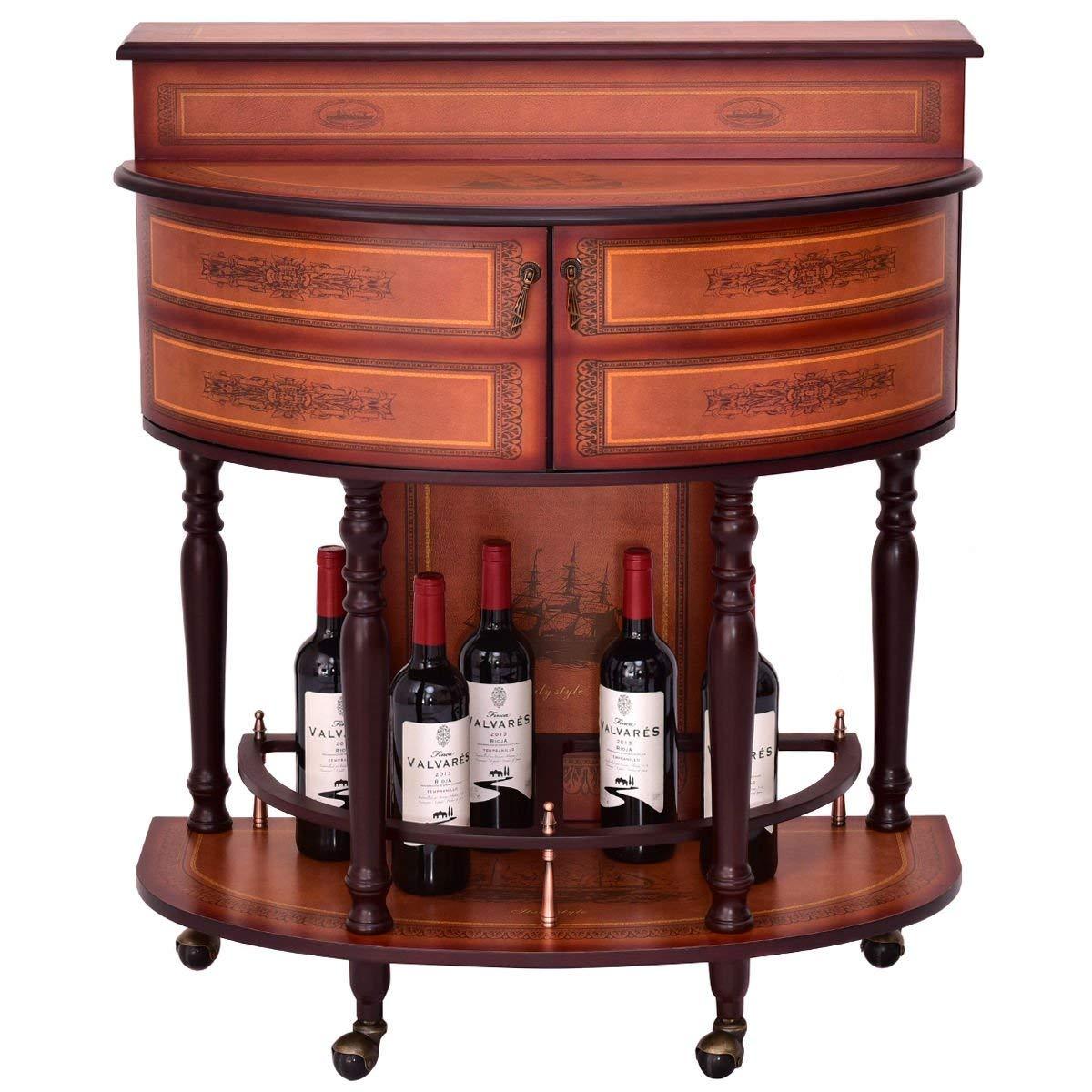Get Quotations · Rolling Vintage Wine Cabinet Bar Stand Wood Storage Holder  Liquor Bottle Shelf
