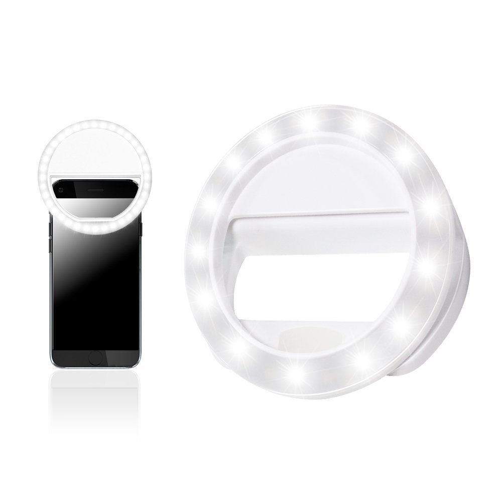 LS Photography LED Portable Mini Selfie Ring Light White for Smartphone, Camera Light, Dimmable, Brightness Control, iPhone, iPad, Samsung Galaxy, LGG573
