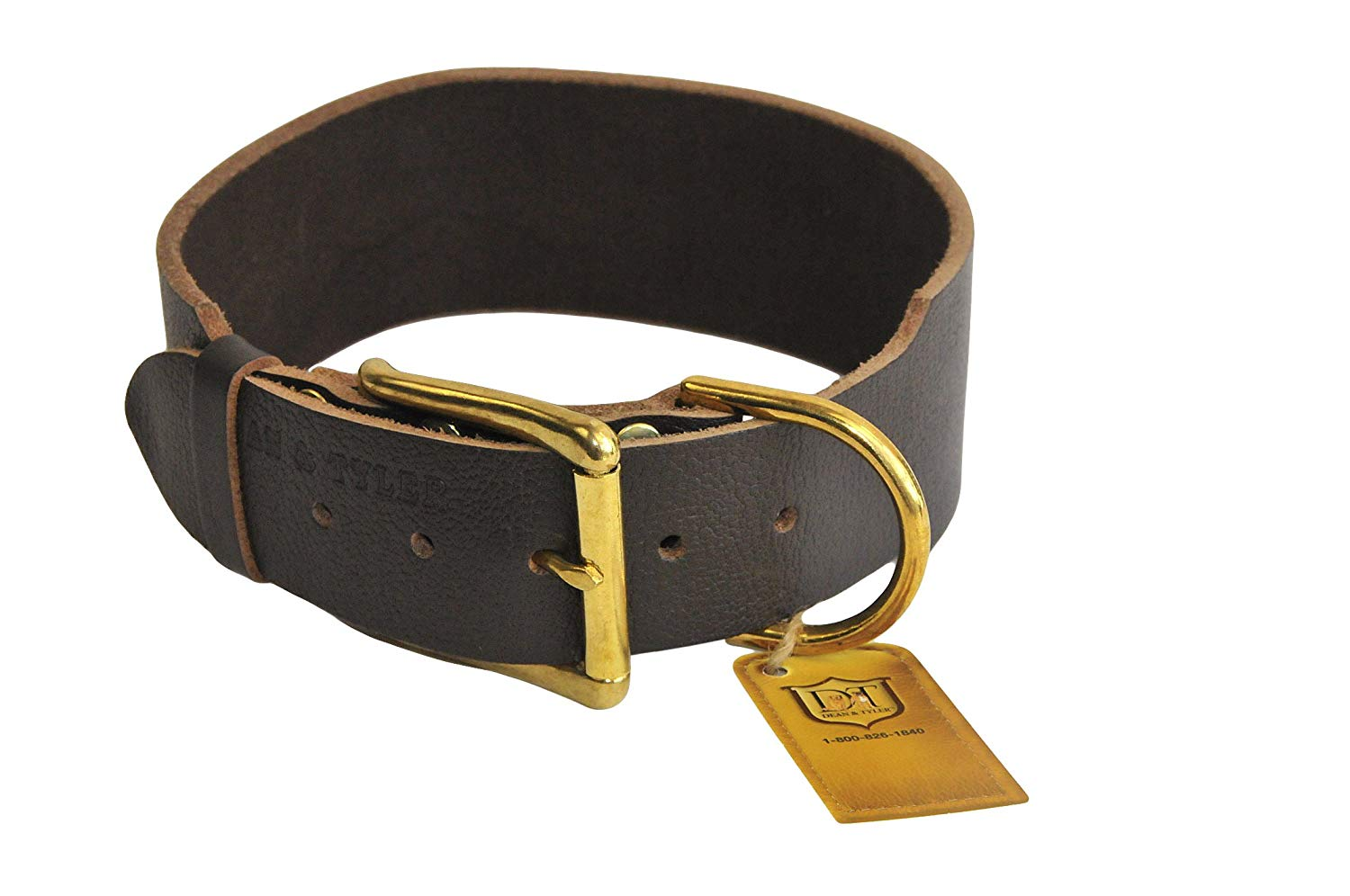 Dean and Tyler B and B, Basic Leather Dog Collar with Solid Brass Hardware - Brown - Size 18-Inch by 1-3/4-Inch - Fits Neck 16-Inch to 20-Inch