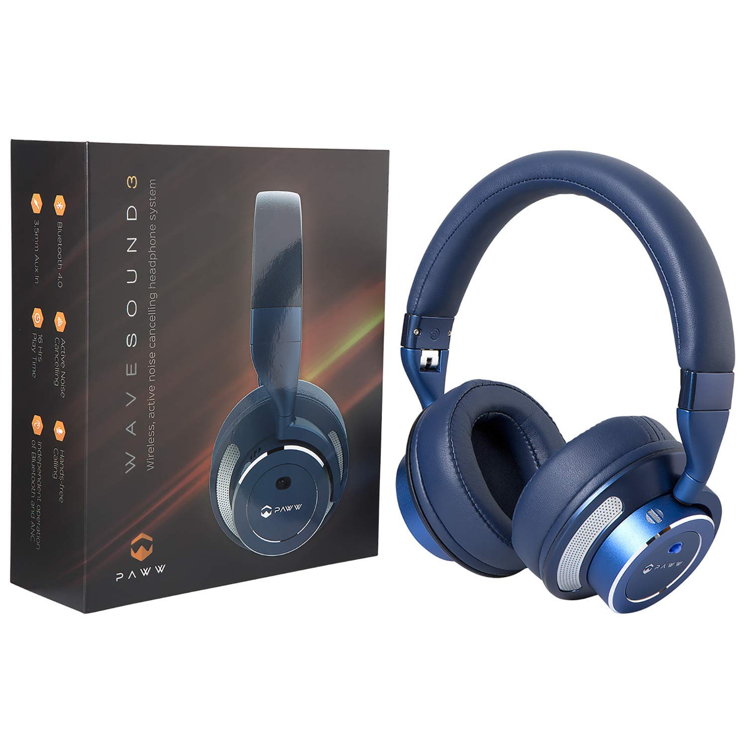02f4c469480 Get Quotations · Paww WaveSound 3 Bluetooth Headphones – Active Noise  Cancelling Headphones with Airplane Adapter
