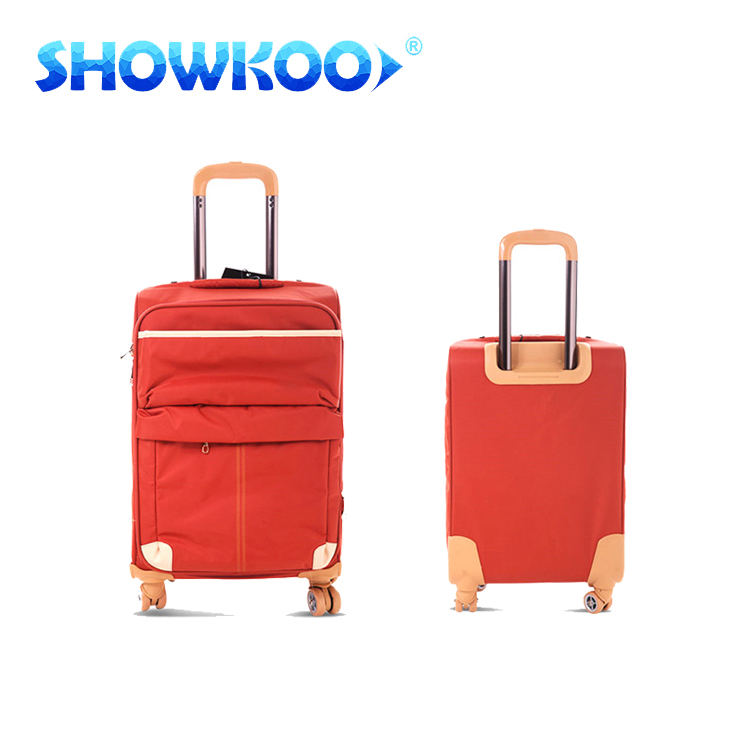 Pretty bright color waterproof trolley bag vintages free style soft tralve luggage