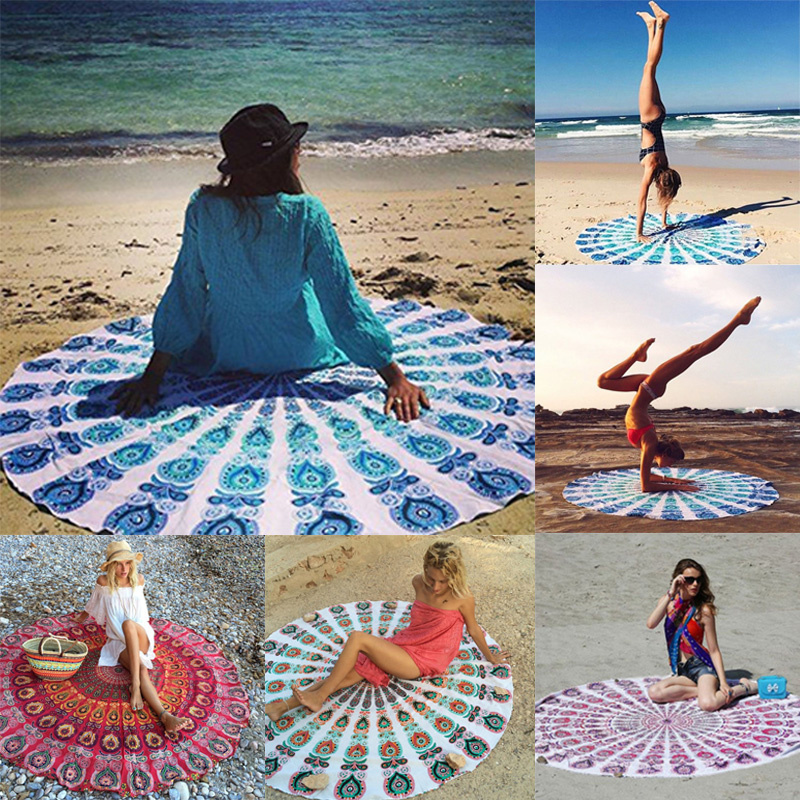 Hot 143cm Indian Mandala Round Hippie Tapestry Wall Hanging Boho Beach Towel Yoga Mat Blanket Table Cloth Home Decor 2016 New