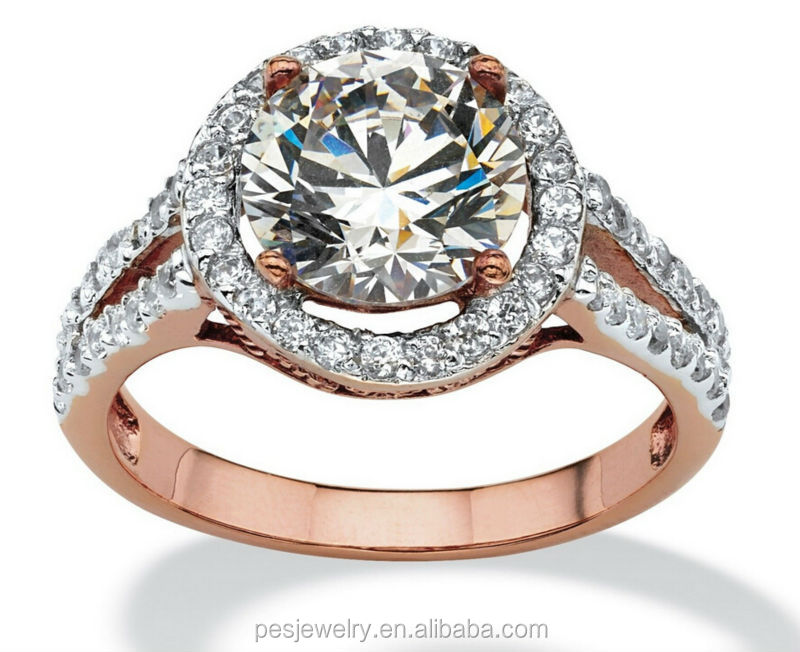 wonderful design 3A zircon Rose gold plated engagement rings for women