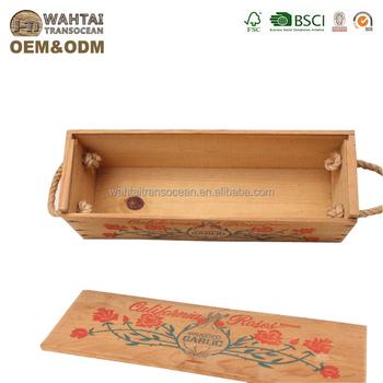 Wahtai Vintage California Roses Wood Sliding Lid Wine Box With Rope Handles Buy Wood Sliding Lid Wine Box Product On Alibabacom