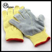 Morewin Brand classical anti cut resistant hand gloves with cow split leather