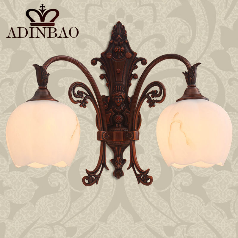 Hot sale Classical red Copper wall lamp Glass Wall light 8005-2