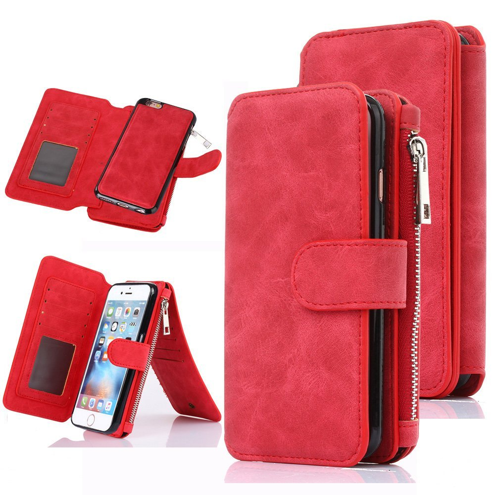 iPhone 6S Case, iPhone 6 Case, CaseUp 12 Card Slot Series - [Zipper Cash Storage] Premium Flip PU Leather Wallet Case Cover With Detachable Magnetic Hard Case For iPhone 6S/6 (4.7 Inch), Red