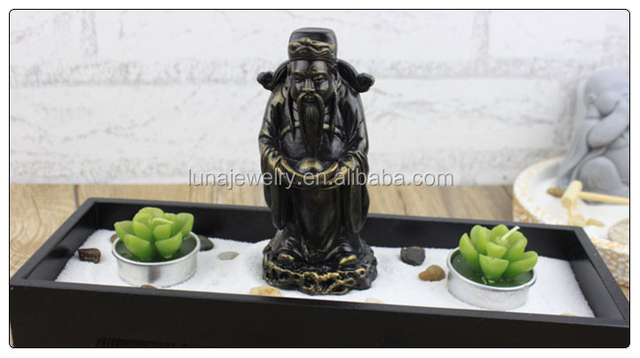 Chinese God Of Weath Buddha Zen Garden , Resin Buddhist Statues , Fengshui Zen  Garden