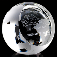 Crystal Globe with Sloping Flat Face paperweight for Personal gift