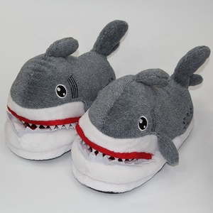hot sale high quality grey color animal plush shark slippers