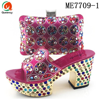 c3c037a84bd2 Queency Fuchsia Pink Lady Italian Shoes And Bag Set Nigeria Style For  Wedding
