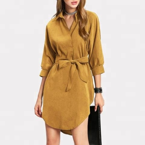 New stock slimming style lapel ladies official dresses with belt long sleeve dress one piece office dress