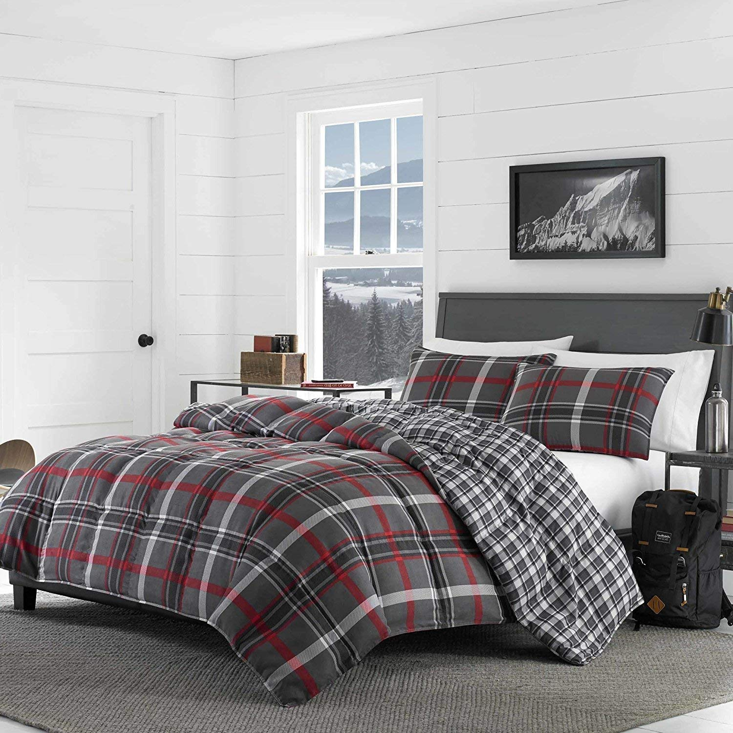 DP 3pc Red Grey Plaid Comforter King Set, Gray Checked Bedding Cabin Themed Lodge Lumberjack Pattern Country Hunting Black White Medium Warmth Patchwork, Cotton Polyester