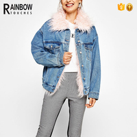 Vintage Washed Jeans Denim Coats and Jackets Women with Pink Fur Collar
