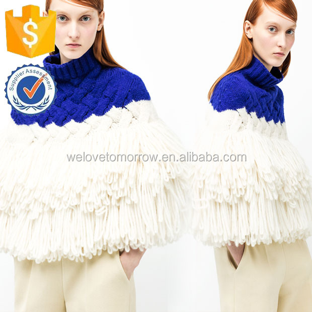3G Blue And White Wool Cable-knit High-neck Tassel Opera Cape Manufacture New Design Wholesale Women Apparel (TF0045B)