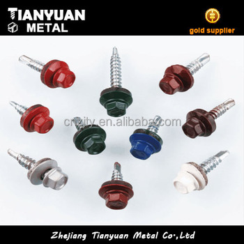 Made in china painted grade 5 hex head self drilling screw 12*3/4 tek screws for roof