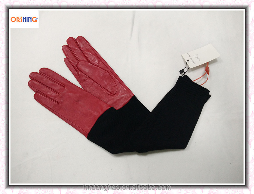 Fashion Softtextile Long Leather Glove