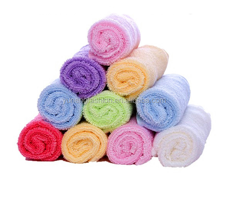 "wholesale 10""*10"" Bamboo Fiber Baby Face towel Colored Baby Washcloth bamboo face cloths"