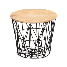 Customized Color Decoration Iron Storage Industrial Stool with Wooden Seat