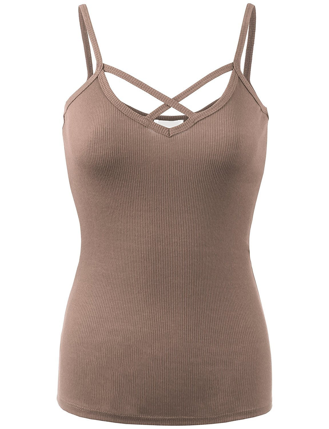 BABY-QQ Comfortable Womens Solid Ribbed Crisscross Cami Top-S-MOCHA Doubldowt469_mochaSmall