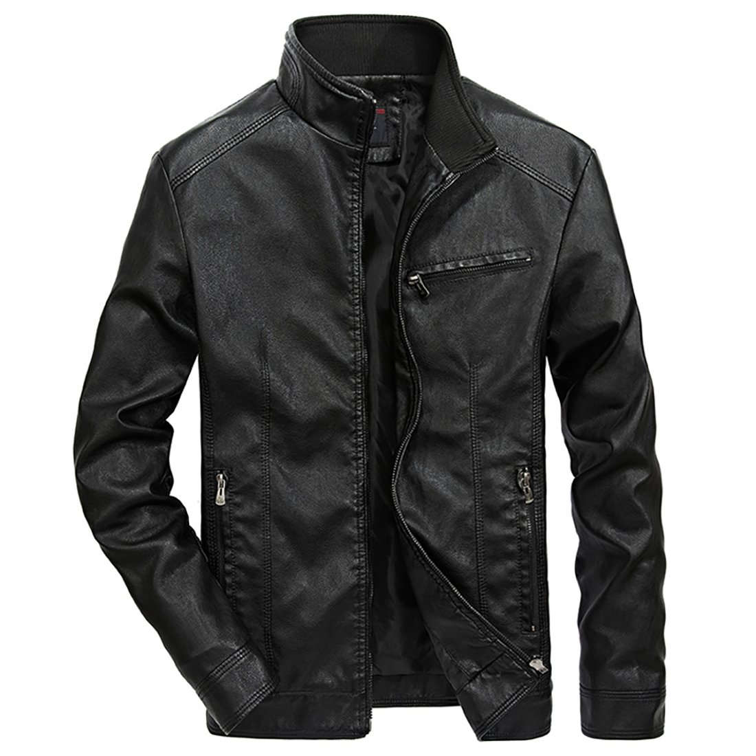 LJYH Mens Stand Collar PU Leather Jacket Faux-Leather Motorcycle Coat