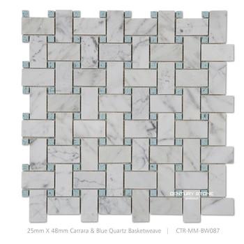 Italienisch Bianco Weissem Carrara Marmor Mix Blau Quarz Korbgeflecht