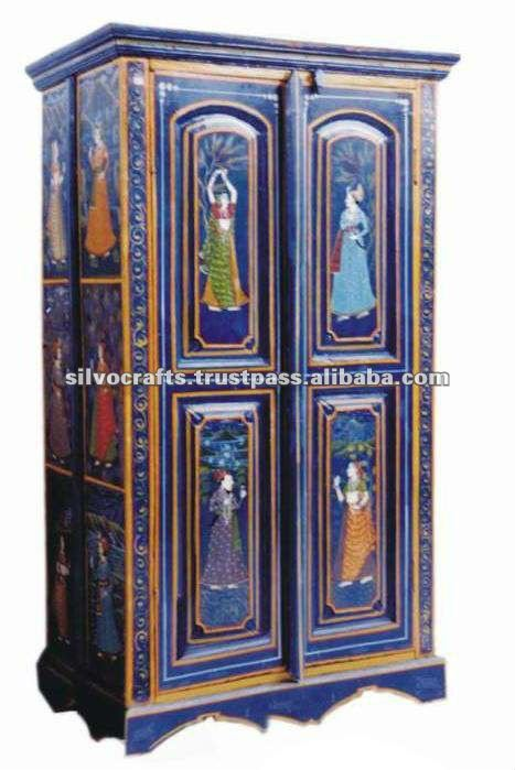 Painted Indian Furniture Armoire