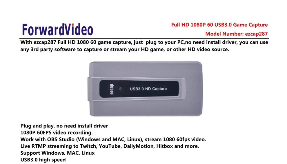 ezcap HDMI Video Capture with USB3.0/2.0 Dongle 1080P 60fps Drive -Free Capture Car Box for Windows Mac Linux system