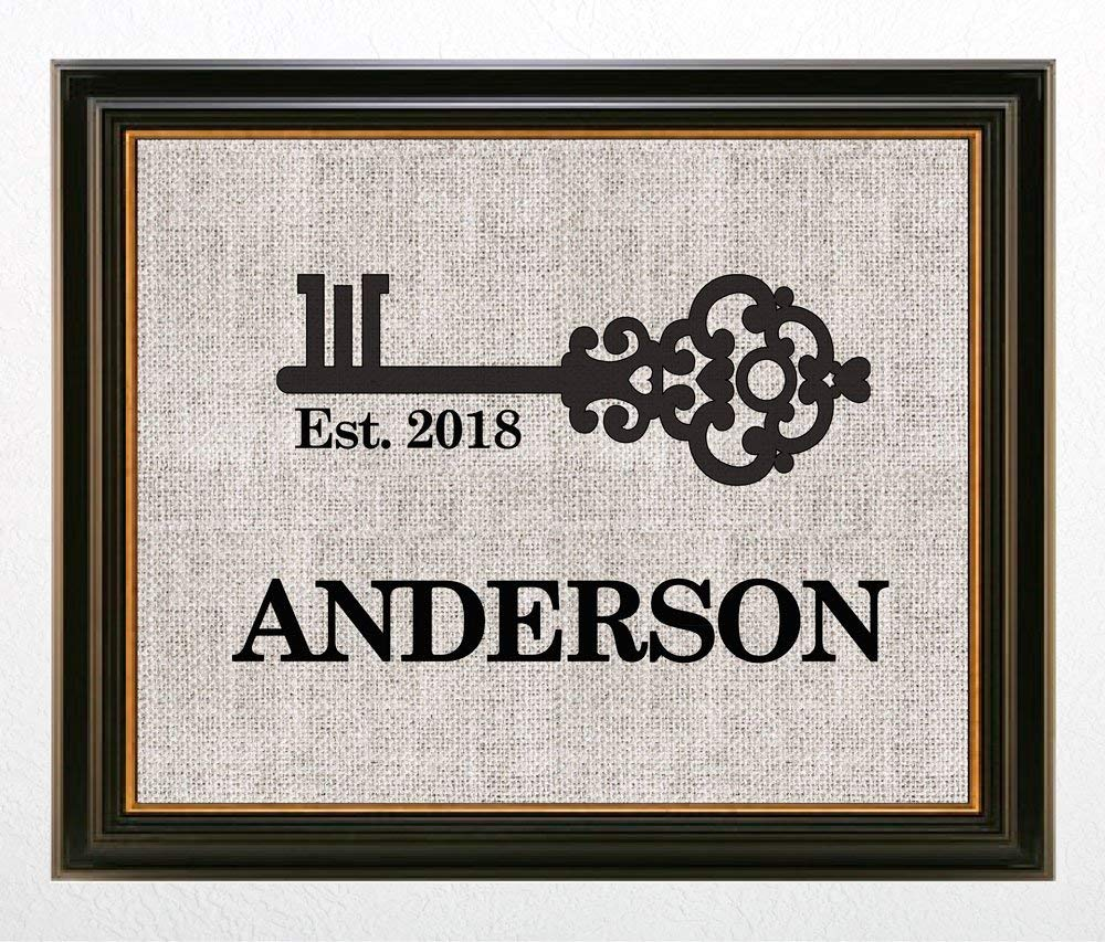 ♥ Personalized FAMILY Name Burlap Print, Wedding Gift, Anniversary Gift, Engagement Gift, Burlap Sign with Family Name and Date Established ♥