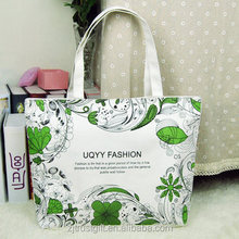 Eco-friendly customised Full printing cotton canvas shopping tote bag