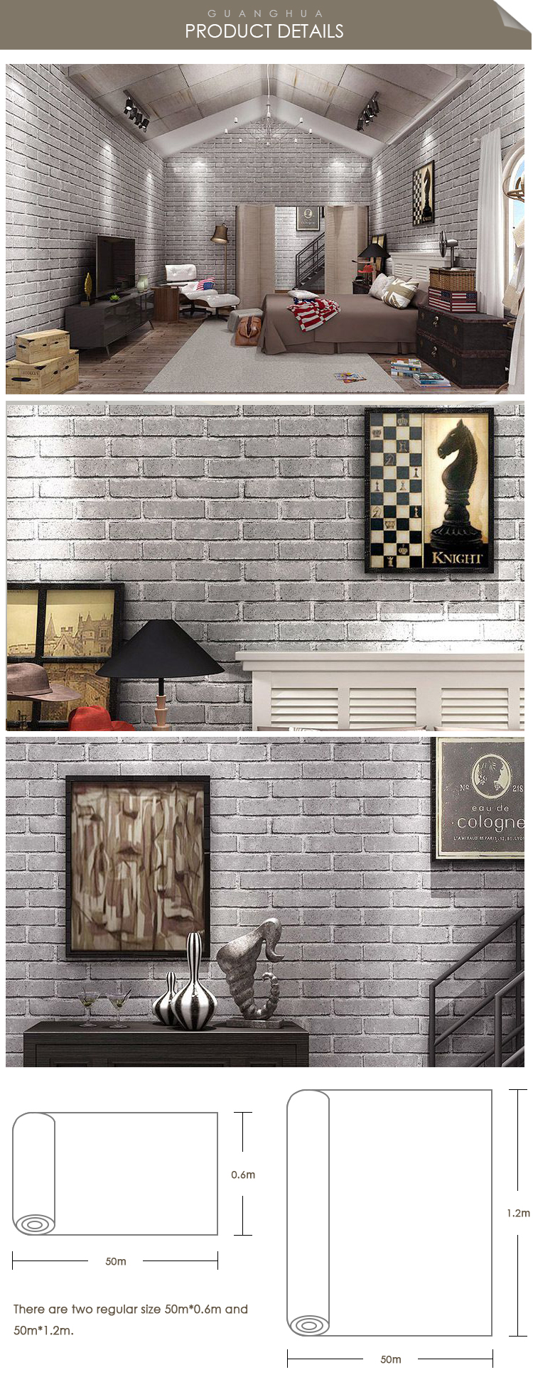 Good Quality Mould-Proof Self-adhesive Durable 3D Wallpaper PVC