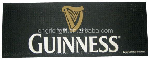 GUINNESS PVC Bar Mat, Rubber Bar Runner With Embossed Logo
