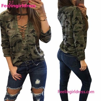 f3dd6c3addf Camo Lace Up Cheap Sexy Women Casual Blouse Designs For Sale - Buy ...