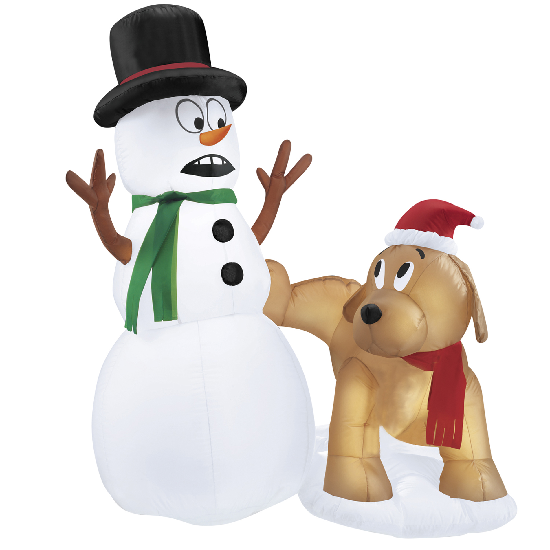 Inflatable Snowman With Puppy Dog For Christmas