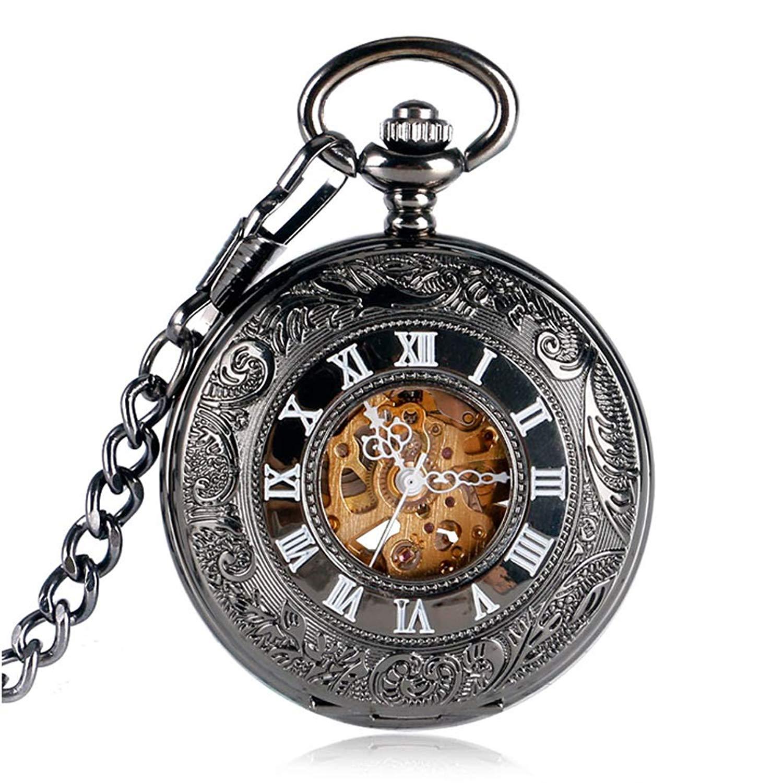 Retro Pocket Watch, Flower Pocket Watch for Men Women, Black Roman Numbers Automatic Mechanical Pocket Watch Gift