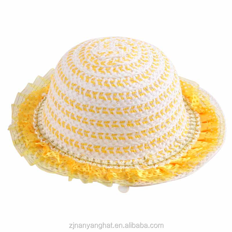 Cute Yellow Naked Flower Side Children Kids White Paper Hats