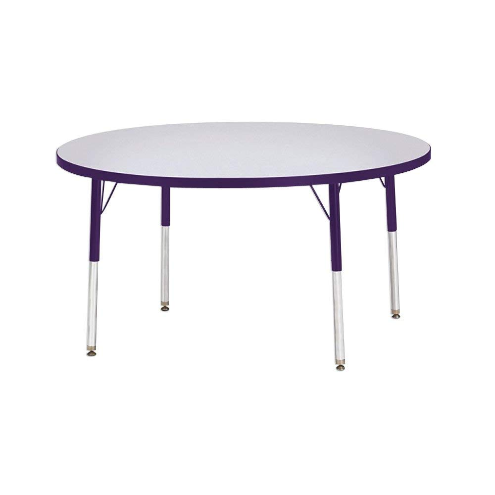 """Berries® Round Activity Table Side Finish: Gray with Purple, Table Size: 42"""" W x 42"""" D (Adult Size: 24"""" - 31"""")"""