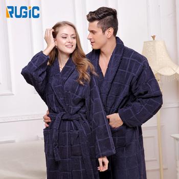 Couple Bathrobe Men Women Plus Size Cotton Towel Fleece Thick Check Night  Dress for Men Hotel 080f76398